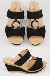 Black Wedge Ring Sandals In EEE Fit