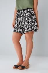 Black & White Aztec Flippy Shorts
