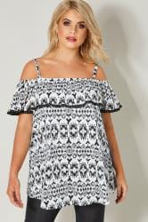 Black & White Aztec Frilled Bardot Top