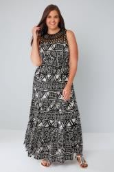 Black & White Aztec Print Maxi Dress With Cut Out Yoke