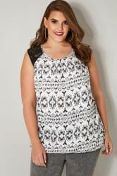 Black & White Aztec Print Sleeveless Bubble Hem Top With Lace Shoulders