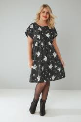 Black & White Bird Print Skater Dress With Short Turn-Back Sleeves