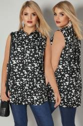 Black & White Butterfly Print Sleeveless Shirt