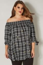 Black & White Check Embroidered Bardot Top