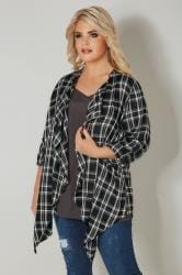 Black & White Check Waterfall Cardigan