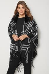 Black & White Check Wrap With Detachable Faux Fur Collar