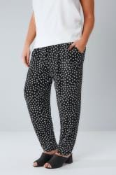 Black & White Daisy Print Jersey Harem Trousers With Pockets