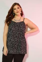 Black & White Dotty Woven Cami Top With Side Splits
