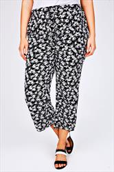 Black & White Floral Print Cropped Trousers