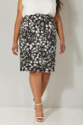 Black & White Floral Print Drape Skirt With Pockets