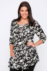 Black & White Floral Print Peplum Top