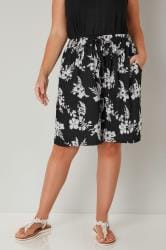 Black & White Floral Print Shorts