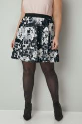 Black & White Floral Print Skater Skirt With Elasticated Waistband