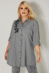 Black & White Embroidered Gingham Boyfriend Shirt