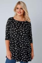 Black & White Line Print Jersey Swing Top With 3/4 Length Sleeves