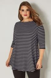 Black & White Longline Striped Top
