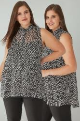 Black & White Mono Diamond Print Sleeveless Sheer Shirt
