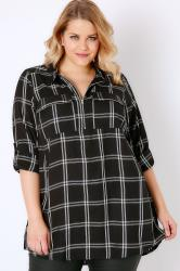 Black & White Monochrome Checked Shirt With Zip Front