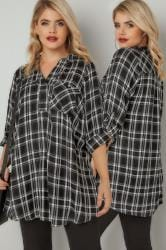 Black & White Oversized Checked Shirt With V-Neck & Faux Pearl Embellishment
