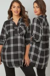 Black & White Oversized Longline Checked Shirt With V-Neck