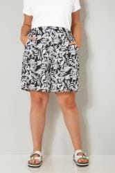 Black & White Palm Leaf Print Woven Shorts