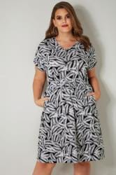 Black & White Palm Leaf Print T-Shirt Dress With Pockets & Elasticated Waistband