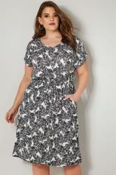 Black & White Palm Print T-Shirt Dress With Pockets & Elasticated Waistband
