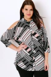 Black, White, Pink & Grey Abstract Stripe Print Cold Shoulder Shirt