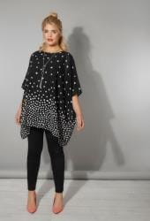 Black & White Polka Dot Chiffon Cape Top With Free Necklace
