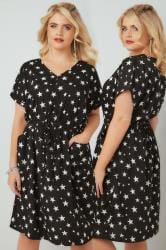 Black & White Star Print Woven Pocket Skater Dress