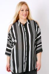 Black & White Stripe Cold Shoulder Woven Shirt