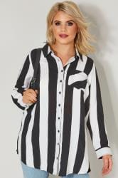 Black & White Striped Pocket Shirt