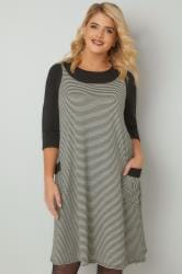 Black & White Striped Textured Mock Pinafore Dress With Two Pockets