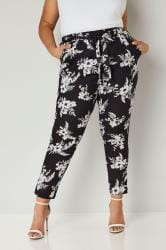 Black & White Tropical Floral Tapered Trousers