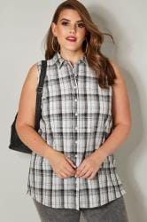 Black & White Woven Check Sleeveless Shirt
