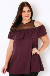 Black & Wine Cold Shoulder Top With Mesh Panel