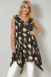 Black & Yellow Floral Print Sleeveless Top With Cross Over Back & Hanky Hem
