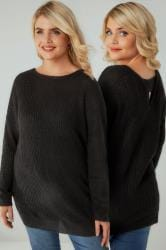 Black knitted Longline Jumper With Open Back
