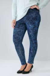 Indigo Blue Acid Wash Pull On Stretch JENNY Jeggings