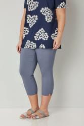 Blue Bengaline Cropped Pull On Trousers