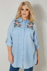 Blue Chambray Shirt With Floral Embroidery