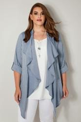 Blue Chambray Waterfall Cardigan