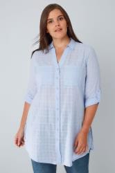 Blue Checked Longline Shirt With Waist Tie