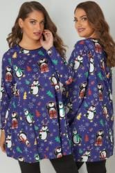Blue Christmas Penguin Longline Swing Top