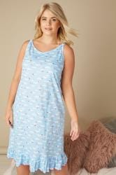 Blue Cloud Print Frilled Nightdress