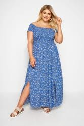 Blue Ditsy Floral Maxi Dress
