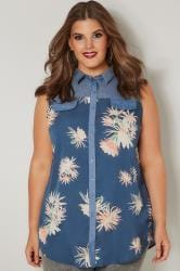 Blue Floral Print Chambray Shirt