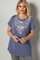 Blue Floral Print T-Shirt With Foil Finish & Curved Hem