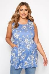 Blue Floral Sleeveless Pocket Blouse