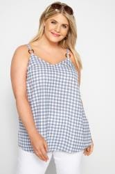 Blue Gingham Vest Top